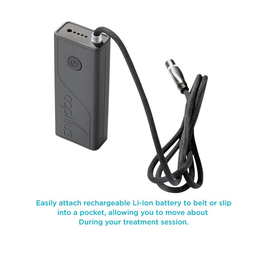 CapillusPlus Li-ion battery is rechargeable and allows for full mobility during therapy
