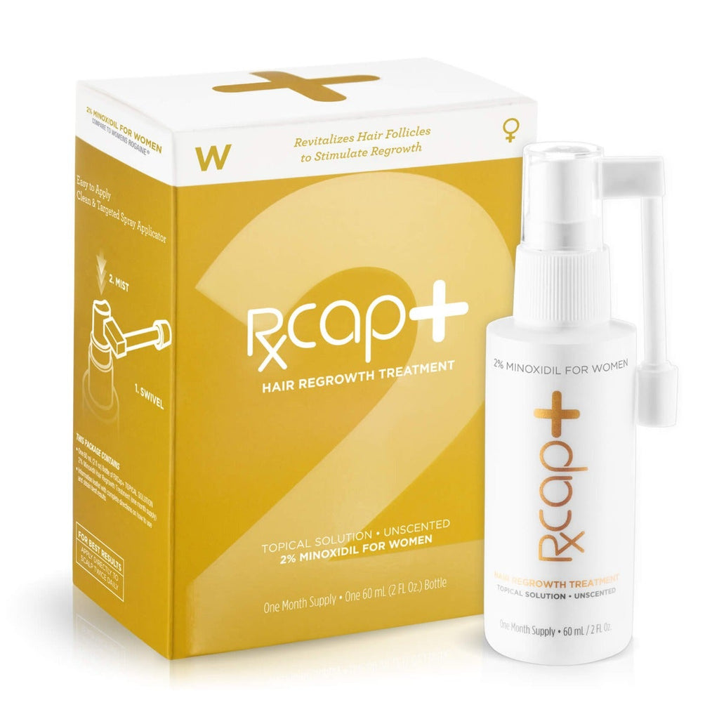 RxCap 2% Minoxidil Hair Regrowth Treatment for Women - Box and Bottle with Applicator
