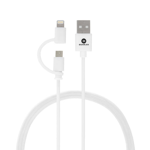 dCables 2 in 1 USB Charging Cable for iPhones, iPads & Android Phones - MFI Certified