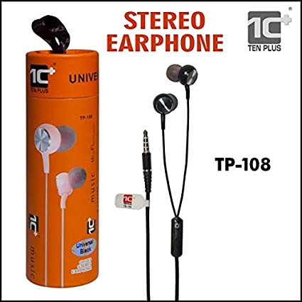 TEN PLUS TP-108 Earphone with Universal Stereo, Extra Bass Wired Headset (Black)