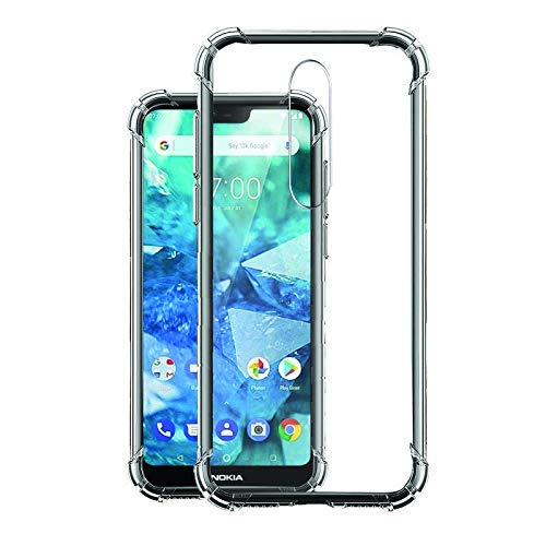 YOFO Shockproof Soft Transparent Back Cover for Nokia 7.1 - (Transparent)