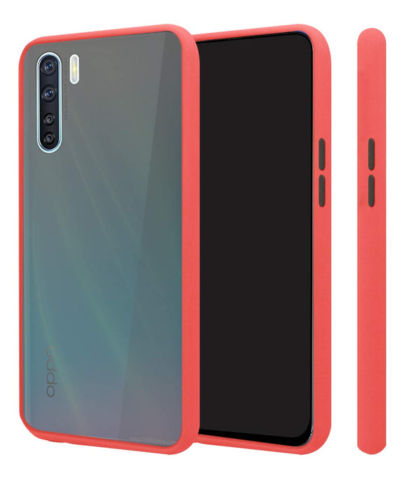 YOFO Matte Finish Smoke Back Cover for Oppo F15 -RED