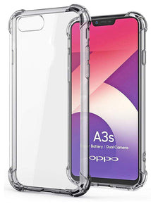 YOFO Shockproof Soft Transparent Back Cover for Oppo A3S - (Transparent)