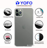 YOFO Back Cover for iPhone 11Pro (5.8) (Transparent) with Dust Plug & Camera Protection