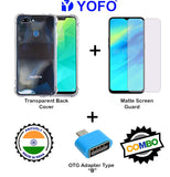 YOFO Combo for Realme 2 Pro Transparent Back Cover + Matte Screen Guard with Free OTG Adapter