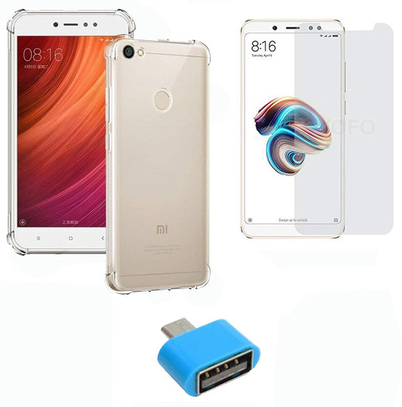 YOFO Combo for Mi Redmi Y1 Transparent Back Cover + Matte Screen Guard with Free OTG Adapter