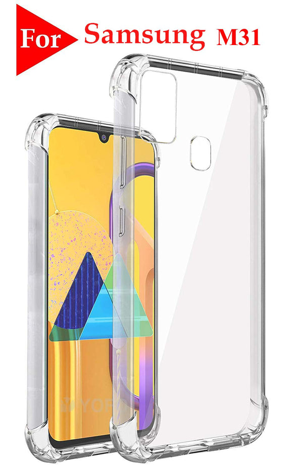 YOFO Silicon Full Shockproof Back Cover for Samsung Galaxy M31 (Transparent)