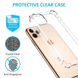 YOFO TPU Cristal Glass Shockproof Back Cover for Apple iPhone 11 Pro {5.8 Inch} - (Transparent)