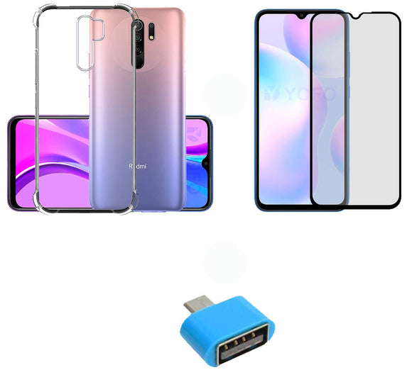 YOFO Combo for Mi Redmi 9 PRIME Transparent Back Cover + Matte Screen Guard with Free OTG Adapter