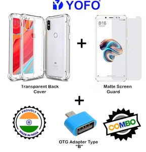 YOFO Combo for Mi Redmi Y2 Transparent Back Cover + Matte Screen Guard with Free OTG Adapter