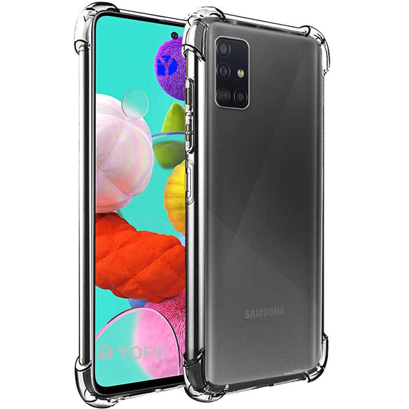YOFO Silicon Shockproof Soft Transparent Back Cover for Samsung A51 - (Transparent)