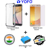 YOFO Combo for Samsung J7 Max Transparent Back Cover + Matte Screen Guard with Free OTG Adapter
