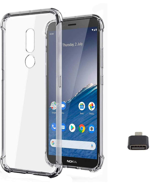 YOFO Shockproof Soft Transparent Back Cover for Nokia C3 With OTG Adapter -(Transparent)