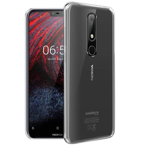 YOFO Silicon Transparent Soft Back Cover for Nokia 6.1 Plus 2018 (Transparent)