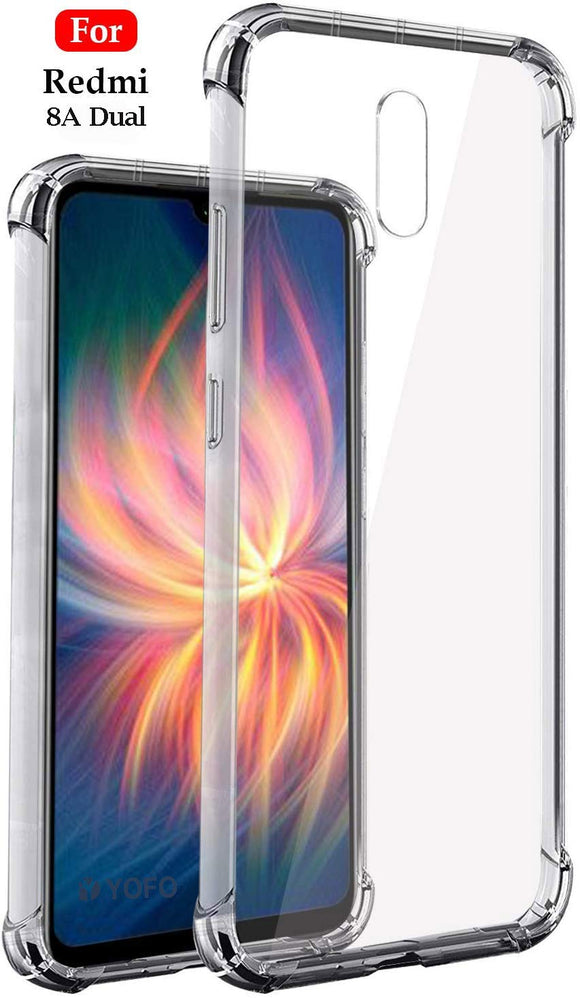 YOFO Shockproof Full Air Cushion Technology Back Cover for MI Redmi 8A Dual - (Transparent) Full Protection Case