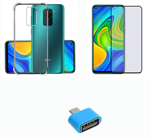 YOFO Combo for Mi Redmi Note 9 Transparent Back Cover + Full Matte Screen Guard with Free OTG Adapter