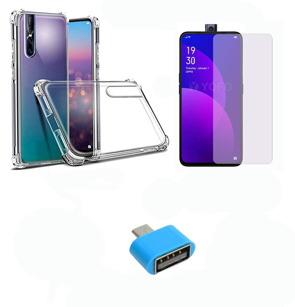 YOFO Combo for Realme X Transparent Back Cover + Matte Screen Guard with Free OTG Adapter