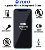 YOFO Matte Tempered Glass/Screen Guard for iPhone XR / 11 (Matte Finish) Full Screen Coverage (except edges)