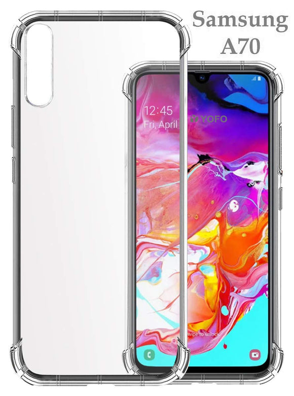 YOFO Shockproof Soft Transparent Back Cover for Samsung A70 - (Transparent) Full Protection Case