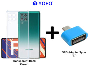 YOFO Silicon Transparent Back Cover for Samsung F62 Shockproof Bumper Corner with Free OTG Adapter