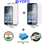 YOFO Combo for Nokia 4.2 Transparent Back Cover + Matte Screen Guad with Free OTG Adapter