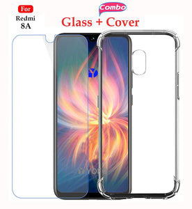 YOFO Transparent Back Cover Case with Tempered Glass Value Combo Pack - for MI Redmi 8A