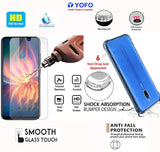 YOFO Transparent Back Cover Case with Tempered Glass Value Combo Pack - for MI Redmi 8A Dual