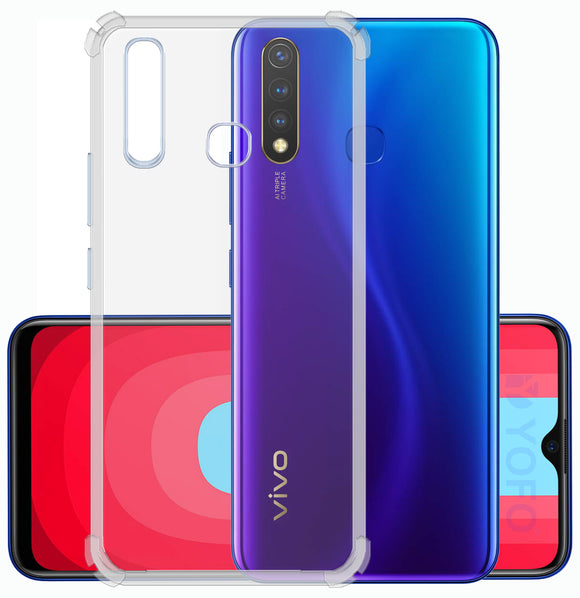 YOFO Rubber Back Cover Case for Vivo U20 / Y19 (Transparent) with Bumper Corner