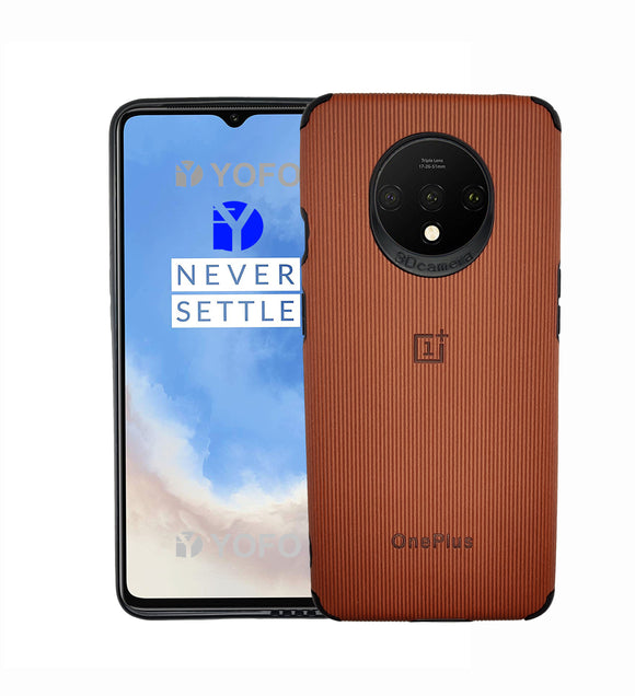 YOFO Creative Case Back Cover for OnePlus 7T Shockproof (Brown)