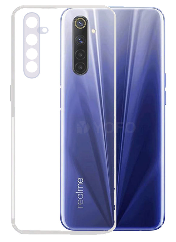 YOFO Back Cover for Realme 6Pro (Transparent) with Dust Plug & Camera Protection