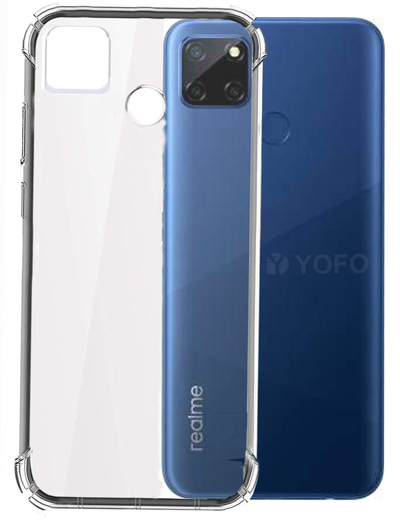 YOFO Rubber Shockproof Soft Transparent Back Cover for Realme C12 - All Sides Protection Case