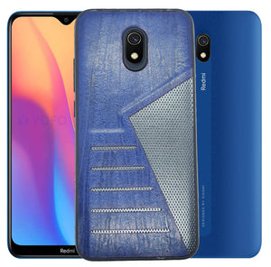 YOFO | The Case with Look | Leather Premuim Back Case Cover for Mi Redmi 8(Navy Blue)