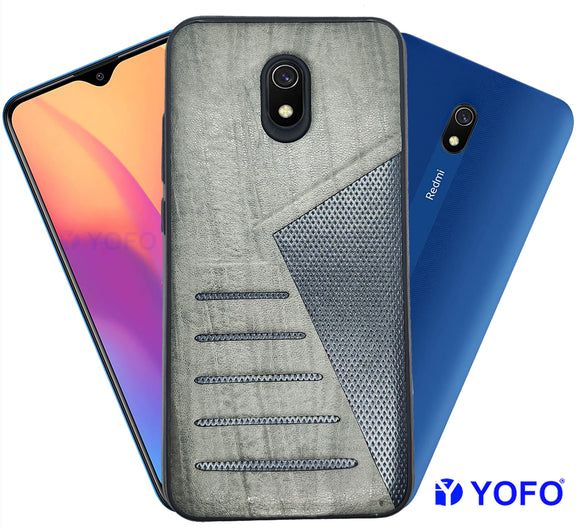 YOFO | The Case with Look | Leather Premuim Back Case Cover for Mi Redmi 8A (GRAY)