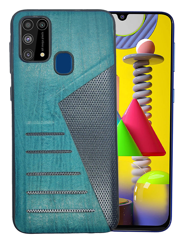 YOFO | The Case with Look | Leather Premuim Back Case Cover for Samsung Galaxy F41 / Samsung Galaxy M31 / Samsung Galaxy M31 Prime (Aqua Blue)