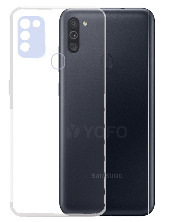 YOFO Back Cover for Samsung A11/M11 (Transparent) with Dust Plug & Camera Protection