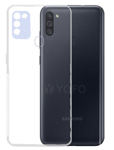YOFO Back Cover for Samsung A11 / M11 (Transparent) with Dust Plug & Camera Protection