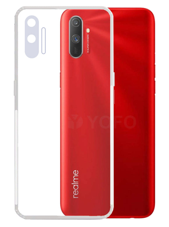 YOFO Back Cover for Realme C3  (Transparent) with Dust Plug & Camera Protection