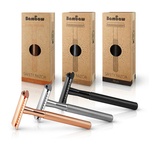 Bambaw Metal Unisex Safety Razor in Rose Gold, Silver or Black.