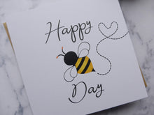 Load image into Gallery viewer, 'Happy Bee Day' Birthday Card Eco-friendly, recycled and plastic-free birthday card