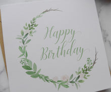 Load image into Gallery viewer, Eco-friendly recycled compostable Happy Birthday Floral Wreath Card