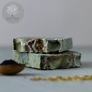 SLS free and plastic-free Charcoal Deep Cleanse soap bar from Sintra Naturals.
