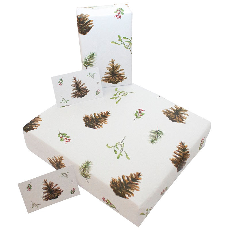 Re-Wrapped Recycled Wrapping Paper- Christmas Fir Cones & Mistletoe