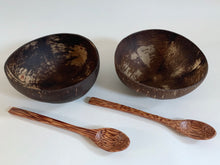 Load image into Gallery viewer, Set of 2 Coconut Bowls and Spoons