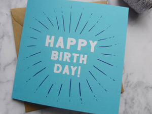 Blue Modern Print Happy Birthday Card
