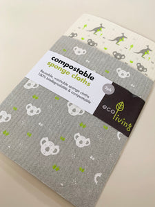 Ecoliving 2 Pack Compostable Sponge Cloths Kangaroo & Koala