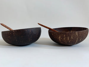Set of 2 Coconut Bowls and Spoons
