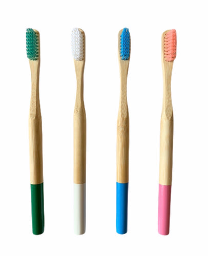 Bamboo compostable toothbrush in either green, pink, blue or white