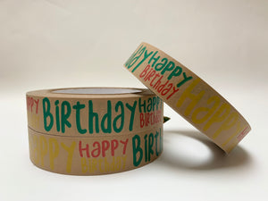 Happy Birthday Self Adhesive Kraft Paper Tape 50m