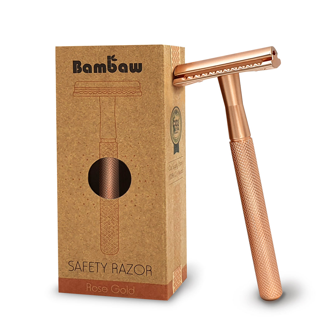 Bambaw Metal Unisex Safety Razor in Rose Gold.