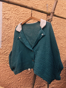 Cropped Gauze Beach Shirt (Jade)